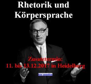 Zusatztermin: 11.-13.12.2017 in Heidelberg
