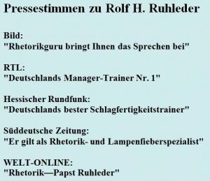 Pressestimmen zu Rolf H. Ruhleder